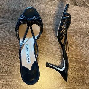 "Classy Manolo Blahnik Black Strappy 3"" Heel Sandal"